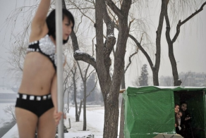 Pole dance in snow