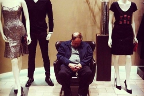 Bored men in shopping centers