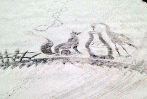 A School Groundskeeper In Russia creates large drawings in the snow