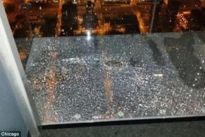 Willis Tower's 103rd floor glass viewing platform CRACKED