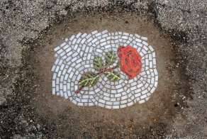 Artist Fills In Chicago's Potholes With Beautiful Flower Mosaics