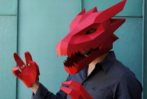 DIY Geometric Paper Masks For Halloween