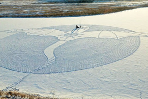 Artist Walks All Day In Siberia To Create Giant Snow Dragon Mural