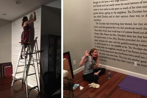 "This Woman Painted The First Page Of ""Harry Potter"" On Her Wall"